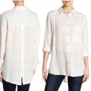 #357 Free People No Limits shirt Small Plaid White